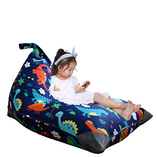 Stuffed Animal Storage Bean Bag Chair for Kids and Adults. Premium Canvas Stuffie Seat - Cover ONLY (Dinosaur 200L/52 Gal)