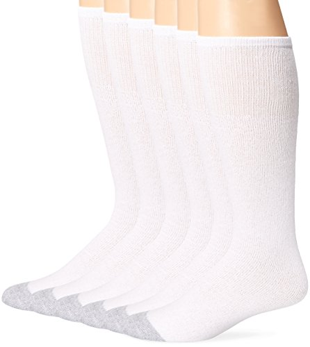 Fruit of the Loom Men's 6 Pack Cushion Over the Calf Tube Socks, White, Sock Size:10-13/Shoe Size: 6-12