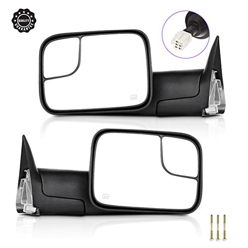 INEEDUP Towing Mirrors Fit for 1998-2001 Dodge Ram 1500 1998-2002 Dodge Ram 2500/3500 Tow Mirrors with Driver Side and Passenger Side Power Operation Heated No Turn Signal Manual Flip up