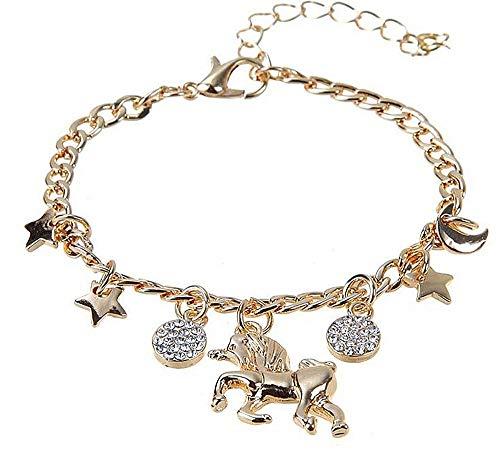 KIRALOVE Armband - mädchen - Charms - Frau - Einhorn - mond - Sonne - Goldfarbe - Armband - Geschenkidee - anhänger - Stern - Geburtstag