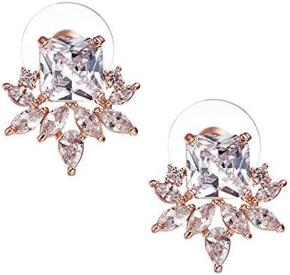 SWEETV CZ Cluster Bridal Wedding Bridesmaids Earrings Crystal Stud Earrings for Women Girls product image