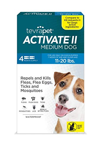 TevraPet Activate II Flea and Tick Prevention for Dogs | 4 Months Supply | Medium Dogs 11-20 lbs | Medicine for Treatment and Control | Topical Drops