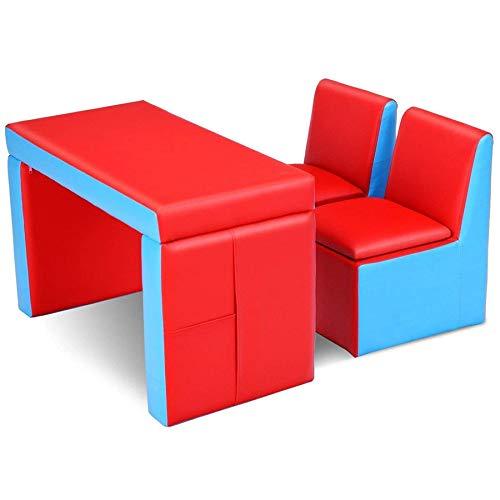 Cay2T - Sofá para niños, juego de mesa y silla para niños 2 en 1 multifunción, 2 sofás con compartimiento de almacenamiento -nice-