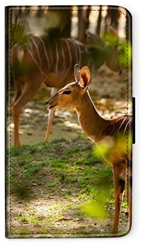 CoverCase Funda con tapa para teléfono móvil Huawei P8 Lite 2017 con diseño de rayas de ciervo, funda con tapa y cartera, redonda, protección para billetera M4