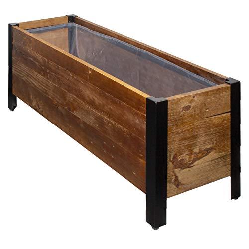 Amazon Basics Pflanzgefäß aus recyceltem Holz, rechteckig, 69,8 x 24,4 x 83,8 cm