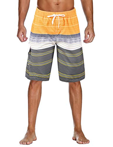 Unitop Men's Colorful Striped Printed Design Swim Trunks Recreation Beach Board Shorts Yellow-28
