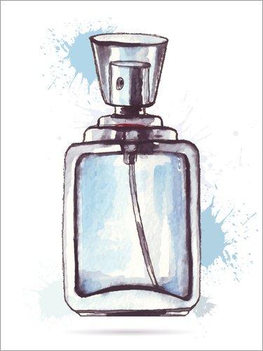 Posterlounge Leinwandbild 100 x 130 cm: hellblauer Flakon von Editors Choice - fertiges Wandbild, Bild auf Keilrahmen, Fertigbild auf echter Leinwand, Leinwanddruck