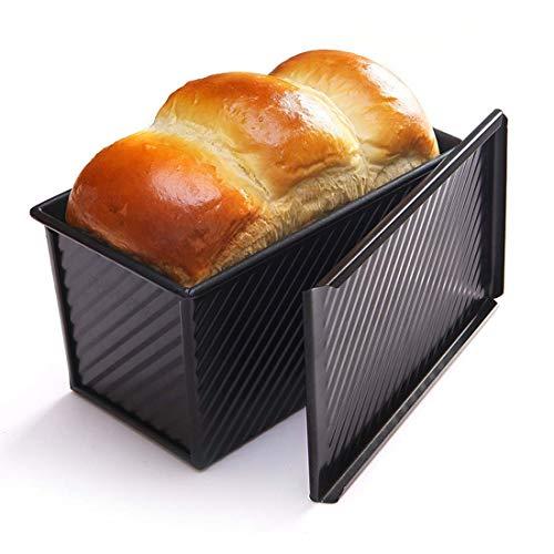 CANDeal Für 450g Teig Toast Brot Backform Gebäck Kuchen Brotbackform Mold Backform mit Deckel(Schwarz-Rechteck-Welle)