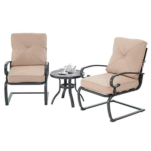 Incbruce Outdoor Indoor 3Pcs Patio Bistro Set Springs Motion Chairs and Bistro Round Table Set, Steel Frame Conversation Set with Cushions (Brown)