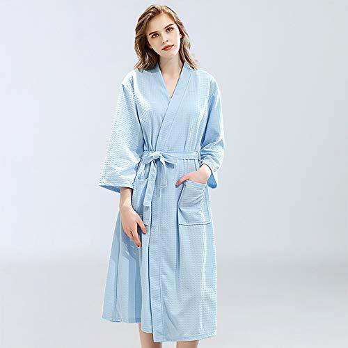 ROirEMJ Damen Bademantel,Frauen Bademantel Waffel Dusche Blau Sleepwear Nachthemden...