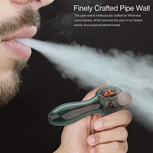 Product Image 3: YoungRich Pipa de Vidrio para Fumar Cuchara de 7 Agujeros Grueso Tubos de Cristal Pequeña Hermoso Lustre Regalo para Padre y Esposo Lago Verde