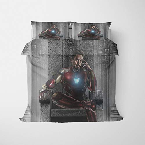 Marvel Captain America Iron Man Duvet Cover Set,Comics Avengers Endgame Microfibre Bedding Set for Kids Children Boys Single Double King Bed (R,200X200)