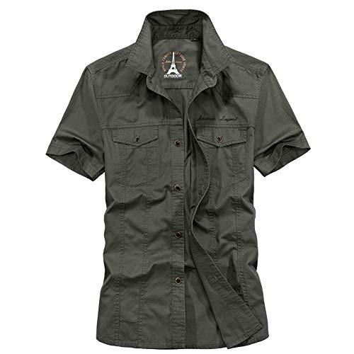 Camisa de Carga de Manga Corta para Hombre, Ropa de Calle de Color sólido con Solapa, Camisa básica Delgada Militar al Aire Libre de Gran tamaño con Bolsillos L