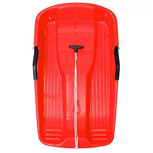 KJGHJ Outdoor Winter Sports Plastic Skiing Tableros Trineos LUGE Firm Multifunción Ski Snow Hierba Snowboard Snowboard con La Cuerda para El Niño Adulto De Plástico De Plástico Trineo (Color : Red)
