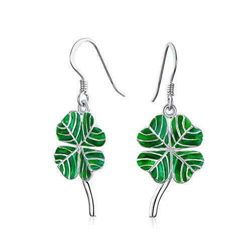 Esmalte Verde El Trébol Suerte 4 Hoja Clover Irlandés Celta Pendiente Colgantes De Plata Esterlina 925 Mujer