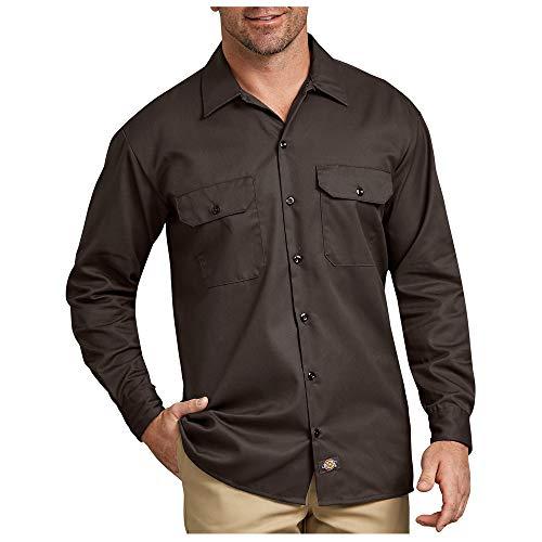 ディッキーズ Dickies 574 LONG SLEEB WORK SHIRT 長袖 ロングスリーブ ワークシャツ 無地 S M L XL (L, DARK BROWN(ダークブラウン)) [並行輸入品]