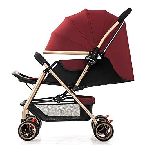 KHUY Légère Pram Voyage Poussette Poussette Carry Bag eith Rain Cover Rainer Couverture Recliner, bébé Landau, siège de Voiture, Poussette (Color : Wine Red)