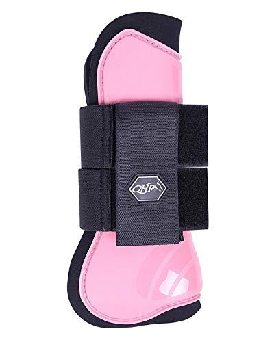 QHP Hartschalen-Gamaschen vorne innen Neopren Klettverschluss (Shetty, Flamingo pink)