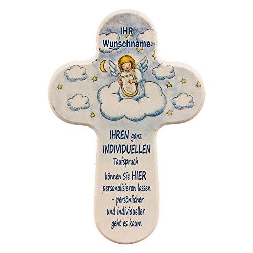 Personalisiertes Schutzengelkreuz mit EIGENEN Taufspruch UND individuellen Namen