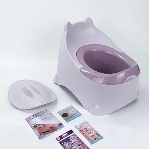 BISOO Vasino per Bambini - WC Vasetto - Neonati + 2 Anni - Per Bimbe e Bimbi- Toilette Compatta e Portatile - Facile da Pulire - Colori Eleganti - Include 3 Regali (Rosa)