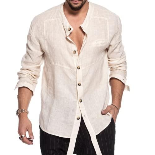 Hombre Camisa con Cuello alzado Moda Color sólido Cómodo Diario Ocio Todo-fósforo Simple Básico Camisa de Costura de Manga Larga XL