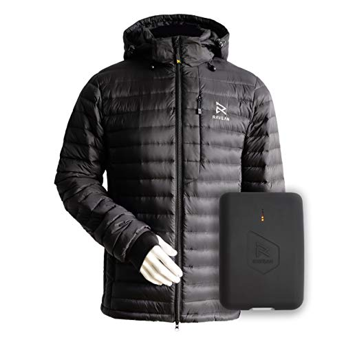 Ravean Men's Down Heated Jacket | Lightweight Water Resistant Jacket w/Mobile Charging Outlet...
