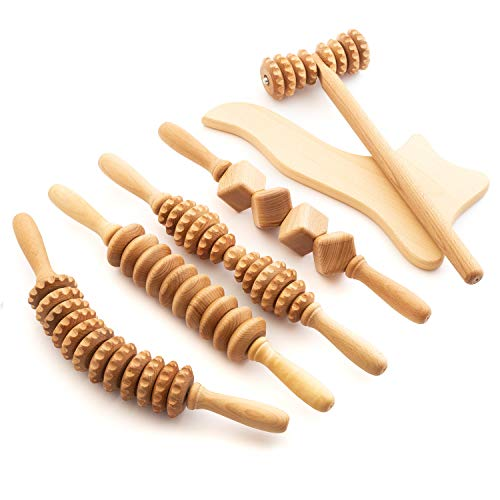 tuuli Accessories Maderotherapie Holz Set Massagegerät Roller Cellulite Lymphdrainage Gerät