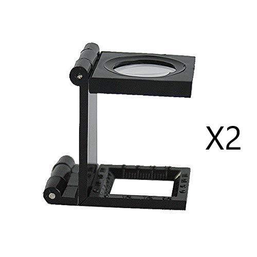EUROXANTY®- Pack de 2 Lupas 10X 28 mm Mini Lupa plegable con escala para la herramienta Lupa plegable Tela PVC óptico Negro