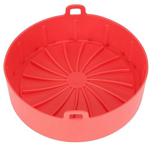 Olla de silicona para freidora de aire, canasta de accesorios para freidora de aire Revestimiento redondo para horno de freidora de aire Reemplazo de papel de revestimiento de pergamino(rojo)