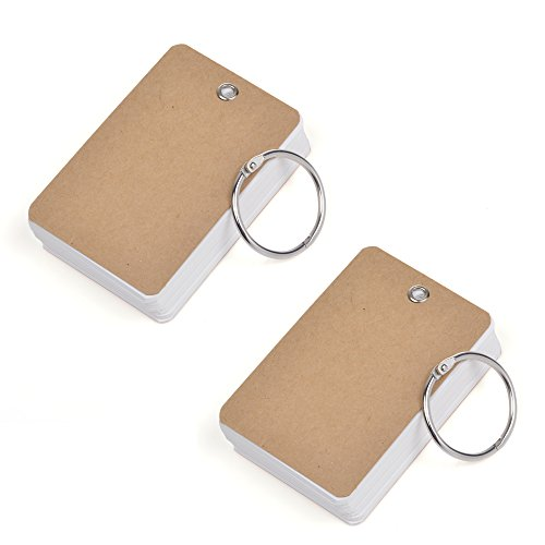 COSMOS Pack of 2 Binder Ring Easy Flip Flash Cards Study Cards, 80 Unruled Blank White Pages