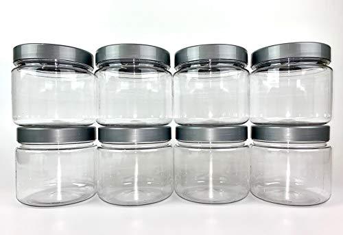 Truenova 8 x 1 l kurze runde Kunststoff-Vorratsdosen Küche Garage Organisation & silberne Deckel