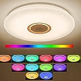 VOMI 36W Lámpara LED de Techo con Altavoz Bluetooth RGB Regulable Mando Distancia ControlWIFI APP 3000-6500K Plafón de Techo Cambio de Color,Dormitorios Salones Ajustable Plafón de Acrílico 30cm