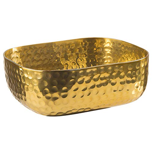 APS Schale aus Aluminum mit gehämmerter, goldener Oberfläche, Brotschale, für u.a. kalte und warme Speisen, 15,5 x 12,0 cm, 0,7 ltr.