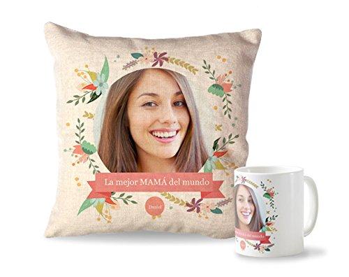 Pack Taza + cojín Madre | Cojín Personalizado de 40 x 40 cm + Taza de Desayuno de cerámia | Regalo Original para el Día de la Madre | Productos Ideal para Navidades, cumpleaños y Amigo Invisible