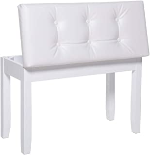 """IWELL 28"""" L Double White Piano Bench with Storage Co"""