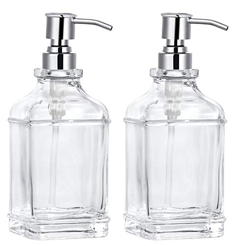 2-Pack 18 OZ Soap Dispenser, Thick Clear Glass with 304 Silver Stainless Steel Pump, Refillable Rustproof Hand Soap Dispenser with 8 Pcs Clear...