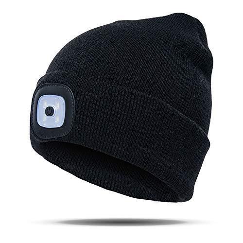 TXYFYP LED Strickmütze,LED Beleuchtete Mütze, Unisex Winter Wärmer Mütze LED Kopf Licht Taschenlampe Hut für Außen Fischen, Jagd, Zelten - Schwarz, Free Size