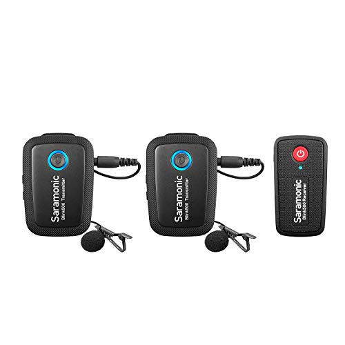2,4 GHz draadloos microfoonsysteem Twee zenders voor camerasmartphone, Saramonic Ultracompact dual-channel microfoon voor DSLR, spiegelloos, videocamera's, mobiele apparaten Youtube Facebook Live