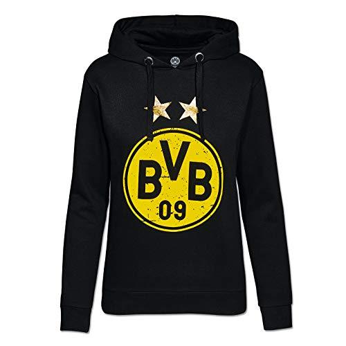 Borussia Dortmund, Felpa con cappuccio e logo per le donne, nero-giallo, XXL