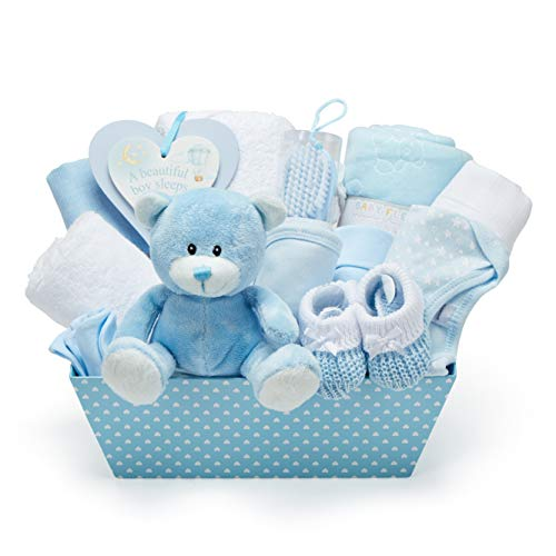 New Baby Party Gift Basket - with fleece, hooded towel, baby clothes, 2 gauze scarves and cute brown teddy bear - baptismal gifts for boy.