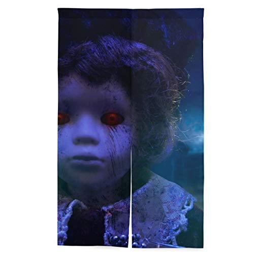 ELIENONO Tenda Giapponese per Porta,Horror Doll Haunted House Mystical Scary,arazzo per Appendere la Porta della Parete divisoria,56.3'* 34'