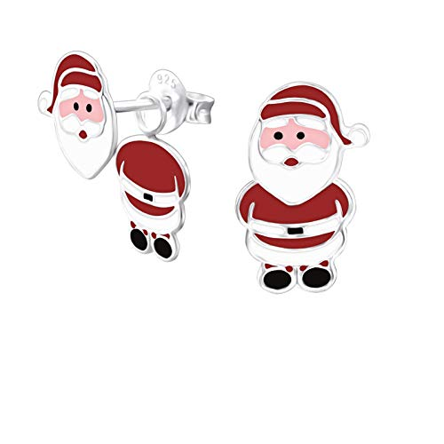 Laimons Mädchen Kids Kinder-Ohrstecker Ohrringe Kinderschmuck Nikolaus Santa Claus 15 x 8 mm Rot, Weiß, Schwarz Sterling Silber 925