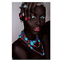 キャンバス塗装 ぶら下げ画 ブラックゴールドアフリカの女性のインド石油はリビングルームのホームインテリアなしフレームのキャンバスポスタープリントウォールアート画像に絵画 (Color : PA1131, Size (Inch) : 50X70cm)