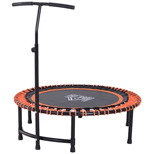 "HOMCOM 45"" Round Mini Trampoline Rebounder Indoor Outdoor Mini Jumper with Adjustable Handle Orange"