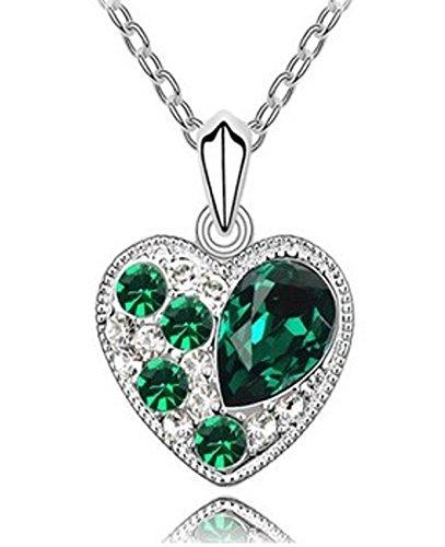 Quadiva E! Collana da donna con ciondolo a forma di cuore (colore: oro bianco/verde) decorata con cristalli scintillanti Swarovski®
