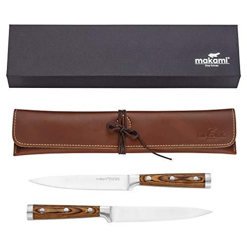 makami Juego de 2 cuchillos de carne premium en estuche de piel, hoja afilada y lisa de acero alemán, mango de madera de pakka.
