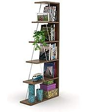 HomeCanvas RF160402 أرفف كتاب صغيرة حديثة لغرفة المعيشة أو غرفة الدراسة، رف سهل التجميع للكتاب- الجوز والكروم