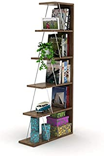 HomeCanvas RF160402 Canvas Modern Mini Book Shelves for Living Room or Study Room, Easy Assembly Book Shelf- Walnut and Ch...