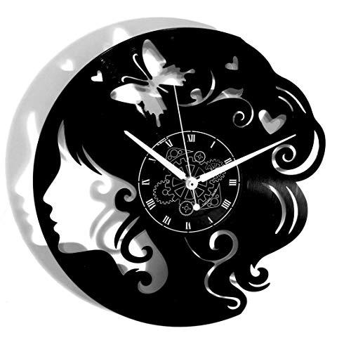 Instant Karma Clocks Orologio in Vinile da Parete Idea Regalo Farfalla Donna Negozio Parrucchiera, Vintage, Handmade