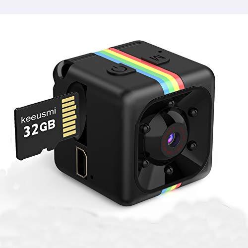 Mini Telecamera Spia Nascosta con Micro sd 32GB, Full HD 1080P Microcamera Spia con Rilevamento di Movimento Portatile Videocamera di Sorveglianza Video per Esterno Interno con Manuale Italiano